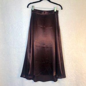 Burgundy Satin Skirt